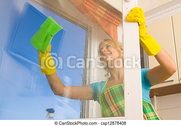 окно, женщины, 4, уборка - csp12878408