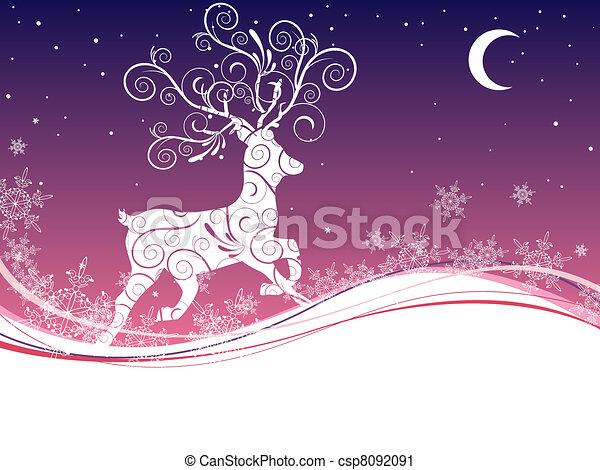 олень, рождество - csp8092091