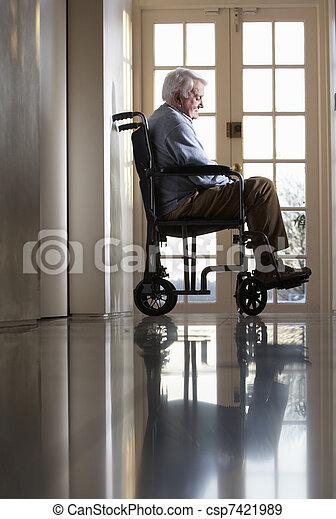 отключен, инвалидная коляска, человек, старшая, сидящий - csp7421989