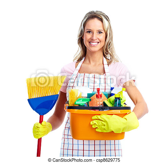 очиститель, улыбается, молодой, woman. - csp8629775