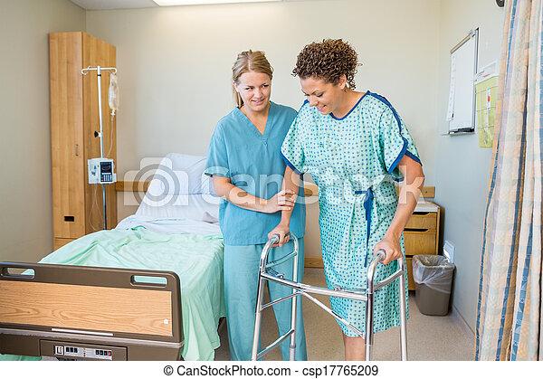 пациент, больница, ходить, помощь, ходок, с помощью, медсестра - csp17765209