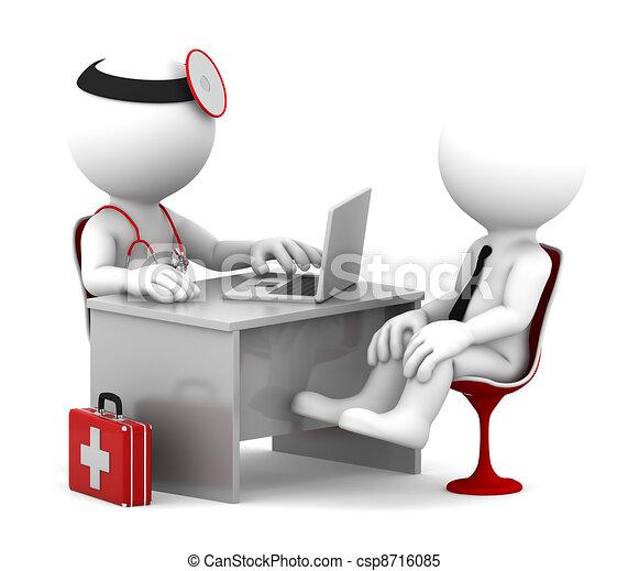 пациент, офис, врач, медицинская, talking, consultation. - csp8716085