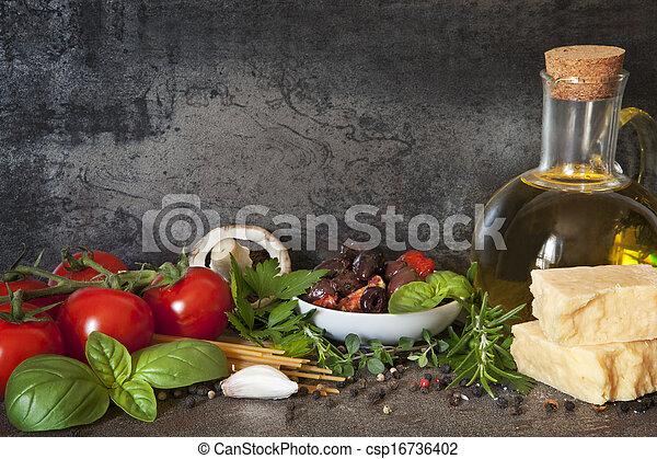 питание, задний план, итальянский - csp16736402