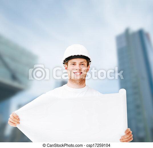 план, шлем, ищу, архитектор, мужской - csp17259104
