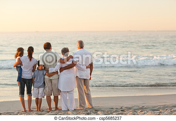 пляж, семья, красивая - csp5685237