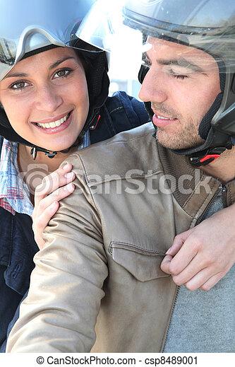 поездка, велосипед, пара, having, улыбается - csp8489001