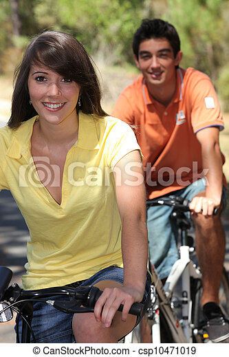 поездка, пара, велосипед, молодой - csp10471019
