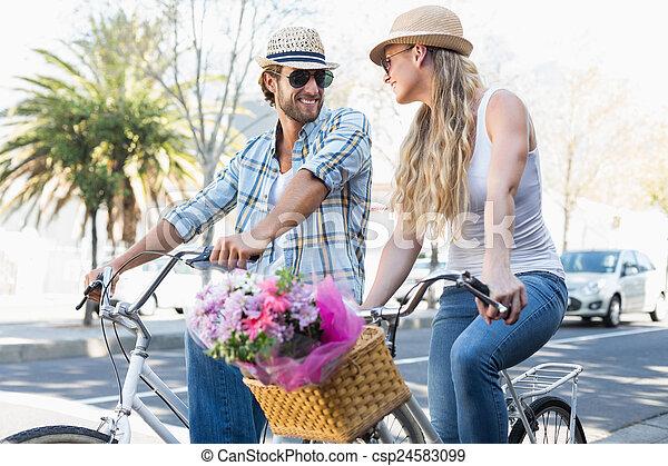 поездка, пара, велосипед, привлекательный - csp24583099