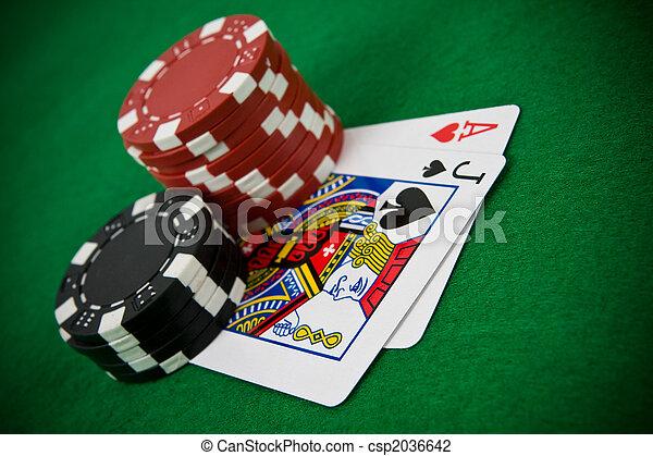 покер, туз, блэк джек, hearts, чипсы - csp2036642