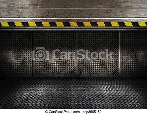 промышленные, дверь, комната, rolled, металл, вверх, шероховатый, plates - csp8665182