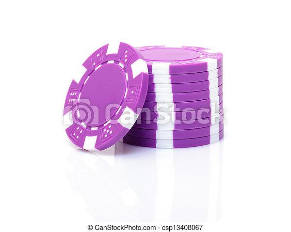 пурпурный, маленький, покер, чипсы, стек - csp13408067