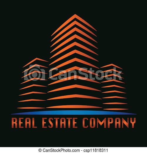 реальный, здание, имущество, логотип - csp11818311
