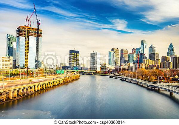 река, schuylkill, линия горизонта, usa., филадельфия - csp40380814