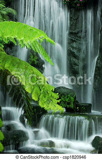 сад, waterfalls - csp1820946