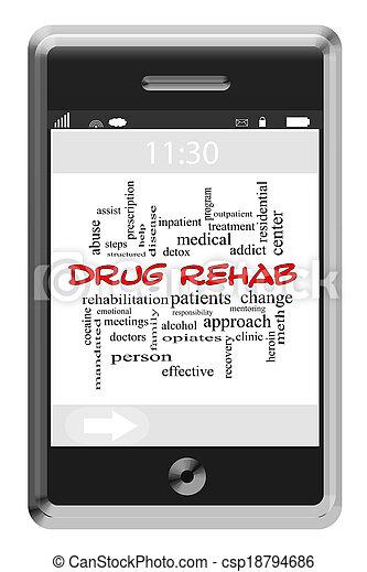 сенсорный экран, концепция, слово, восстановление, лекарственный, телефон, облако - csp18794686