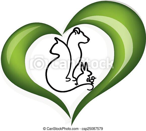 сердце, люблю, собака, кот, кролик, логотип - csp25087579