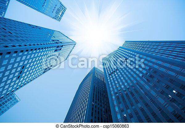синий, здание, абстрактные, небоскреб - csp15060863