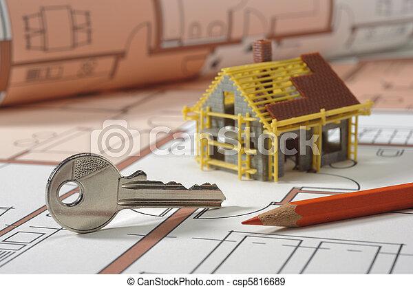 синий, распечатать, архитектура, план - csp5816689