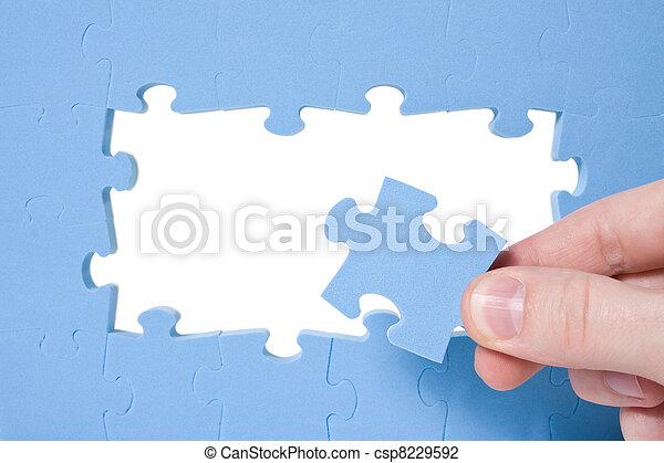 синий, рука, головоломка, collecting - csp8229592