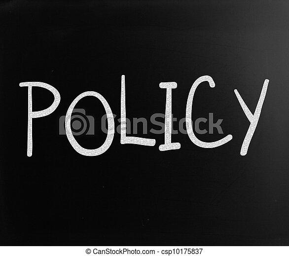 """слово, классная доска, мел, """"policy"""", белый, рукописный - csp10175837"""