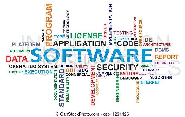 слово, -, облако, программного обеспечения - csp11231426