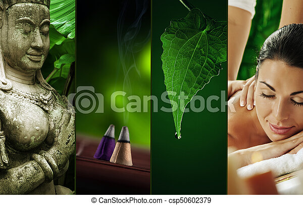 состоящий, другой, коллаж, тема, images, спа - csp50602379