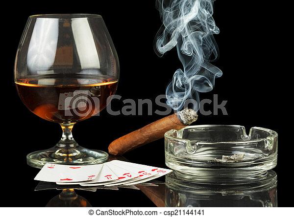стакан, сигара, cards, whisky - csp21144141