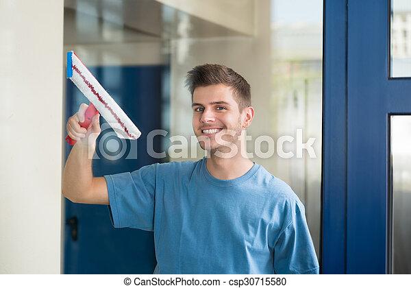 стакан, швабра, работник, уборка - csp30715580