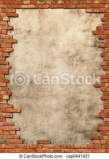 стена, шероховатый, кирпич, рамка - csp0441431