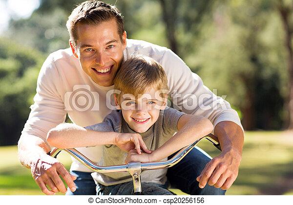 счастливый, велосипед, отец, сын - csp20256156