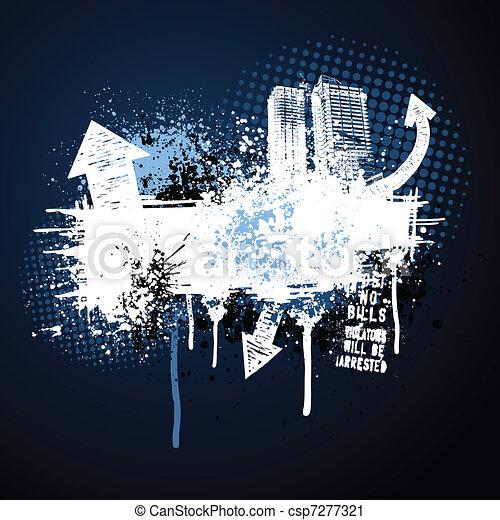 темно, синий, рамка, гранж, город - csp7277321
