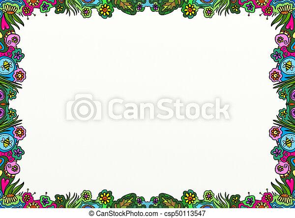 украшение, весна, граница, страница, болван - csp50113547