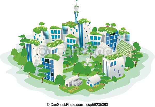 устойчивый, город, зеленый, иллюстрация - csp56235363