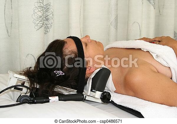 устройство, физиотерапия, растягивание, шея - csp0486571