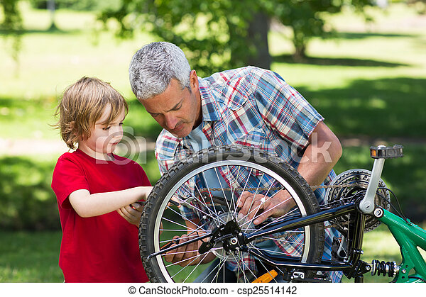 фиксация, his, отец, велосипед, сын - csp25514142