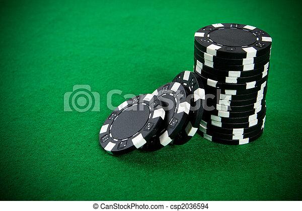 черный, покер, чипсы, стек - csp2036594