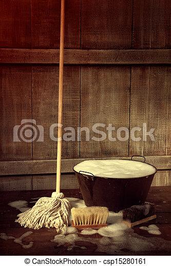 швабра, пол, влажный, ведро, уборка, мыльный - csp15280161