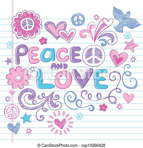 אהוב, &, שלום, sketchy, וקטור, doodles - csp10266428