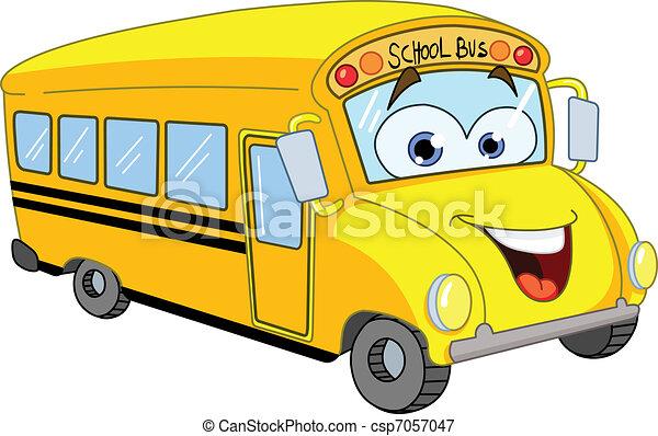 אוטובוס, בית ספר, ציור היתולי - csp7057047