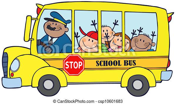 אוטובוס, ילדים של בית הספר, שמח - csp10601683