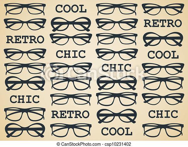 אופנתי, ראטרו, משקפיים - csp10231402