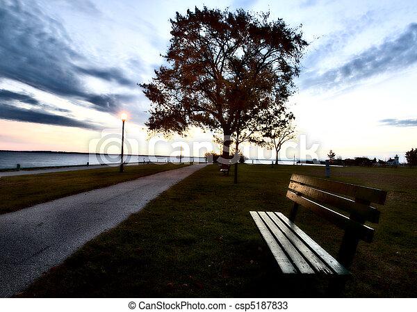 אור, רחוב, ספסל - csp5187833