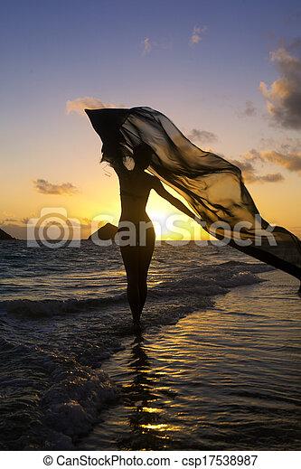 אישה, החף, עלית שמש - csp17538987