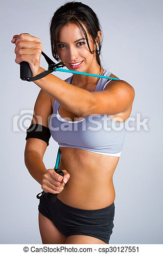 אישה יפה, לטינית, כושר גופני - csp30127551
