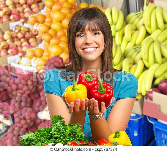 אישה, ירקות, פירות - csp5767374