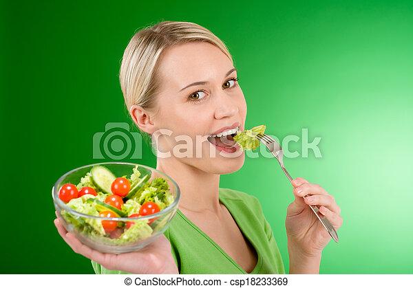 אישה, סגנון חיים, סלט, בריא, -, להחזיק, ירק - csp18233369