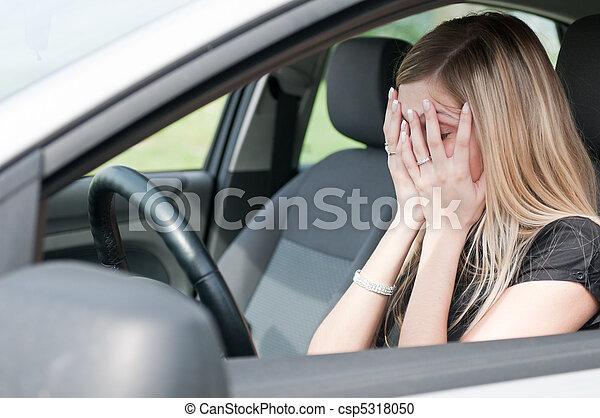 אישה של מכונית, -, עצוב, בעיות - csp5318050