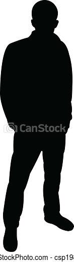 איש, וקטור, לעמוד, צללית - csp19803730