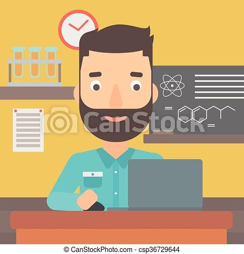 איש, ללמוד, laptop. - csp36729644