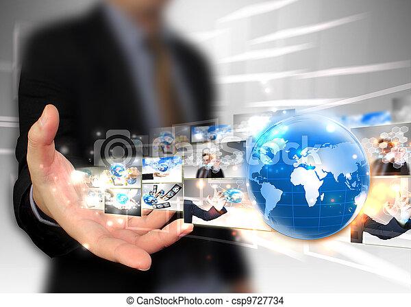 איש עסקים, .technology, מושג, להחזיק, עולם - csp9727734